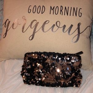 VS Rose Gold & Black Sequined Cosmetic Case